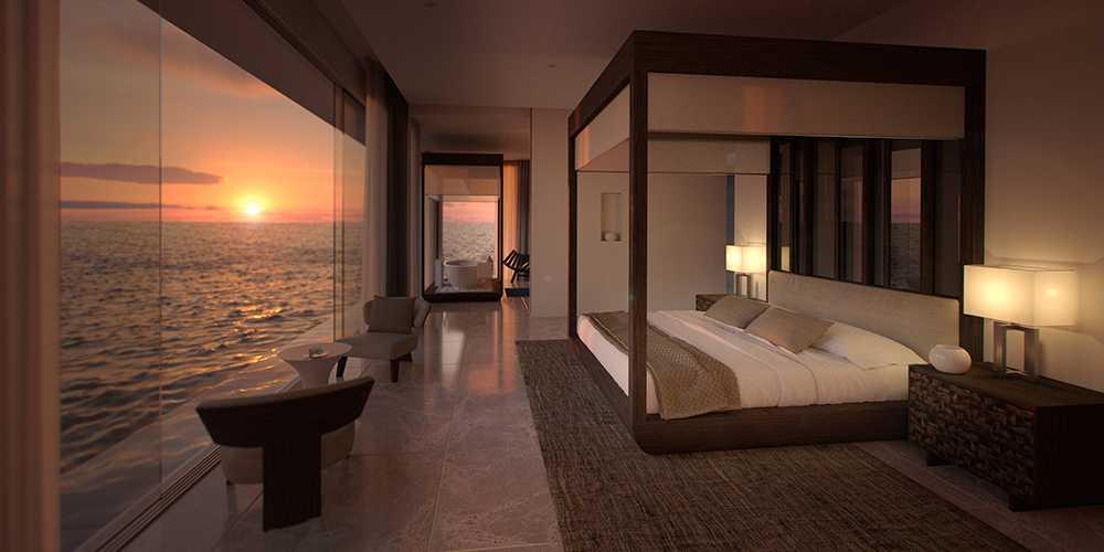 Sovrum med havsutsikt.
