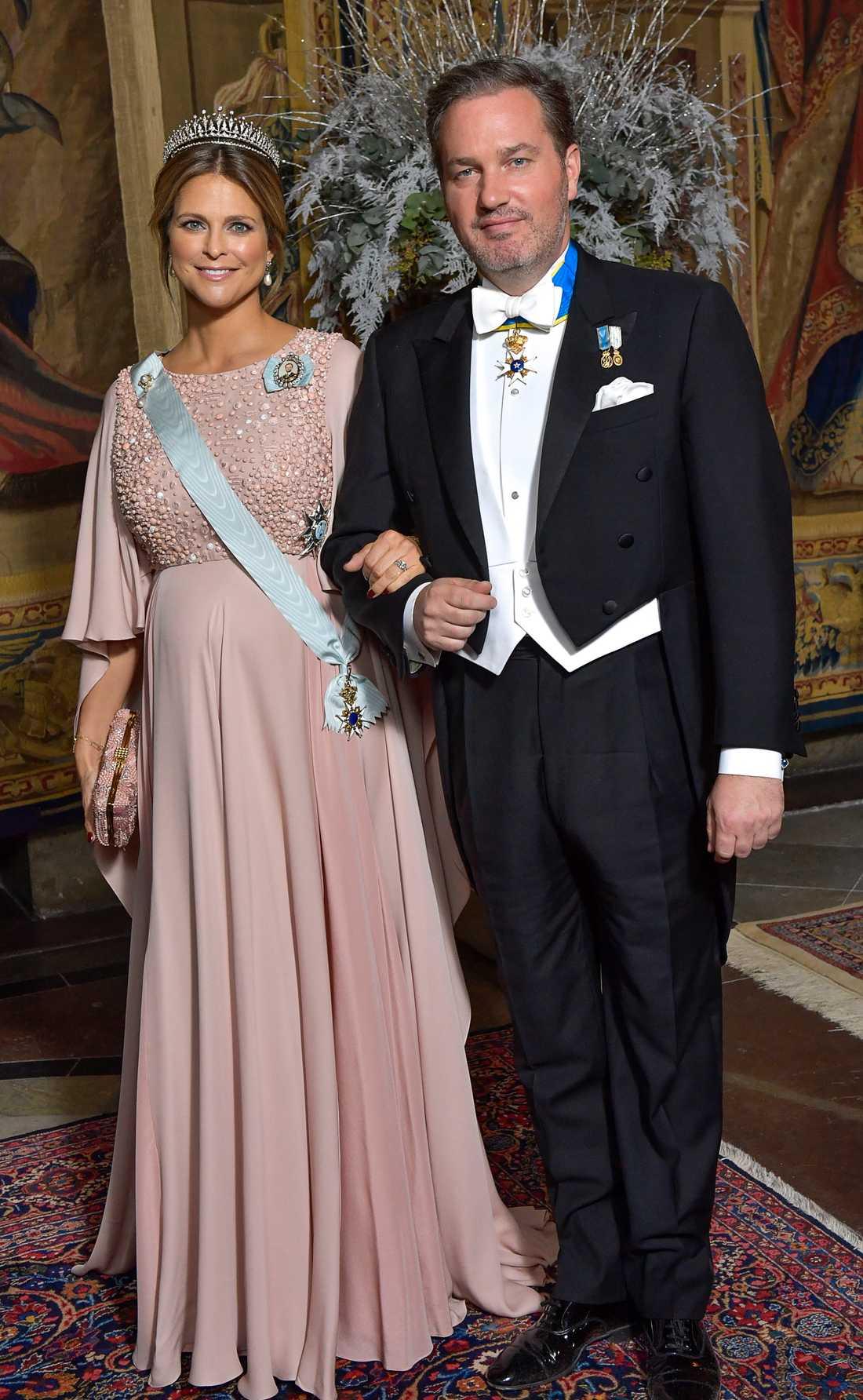 Prinsessan Madeleine och Chris O'Neill under kungamiddagen i samband med Nobelprisfirandet 2017.