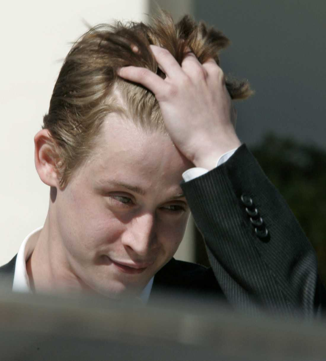 Culkin efter att ha vittnat i Michael Jackson-rättegången 2005.