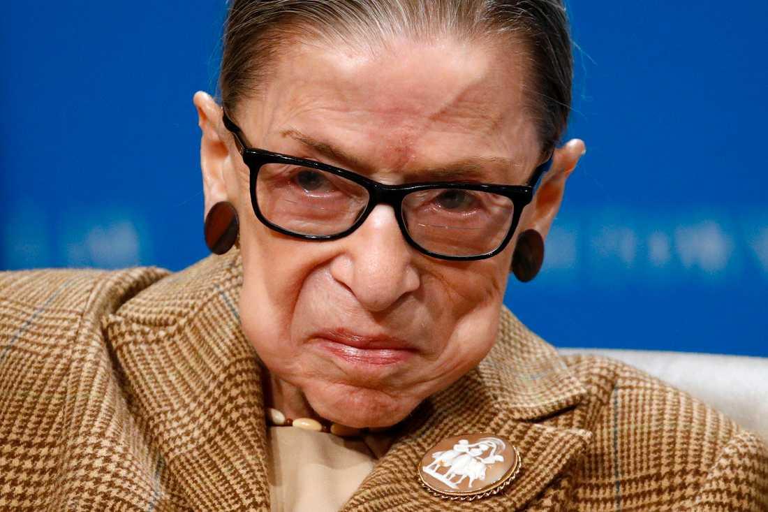 HD-domaren Ruth Bader Ginsburg håller ett anförande i Washington DC i USA i februari.