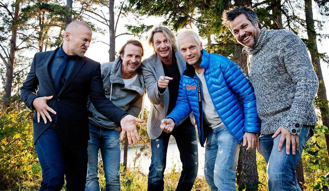 Andreas Lundstedt, sångare Sverige, Patrik Isaksson, Tommy Nilsson, Thomas Järvheden och Kenny Mattsson.