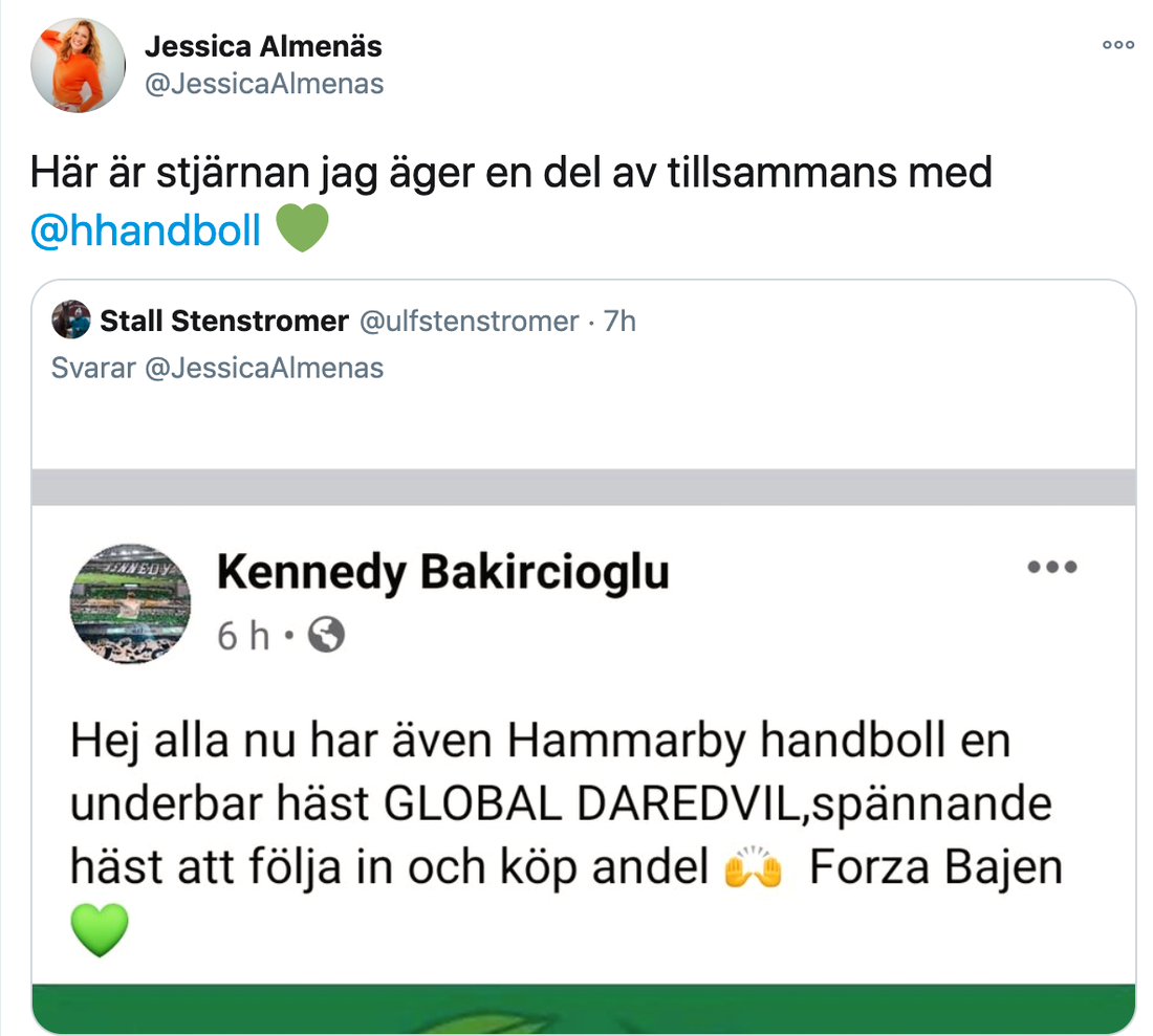 Programledaren Jessica Almenäs är hästägare – igen