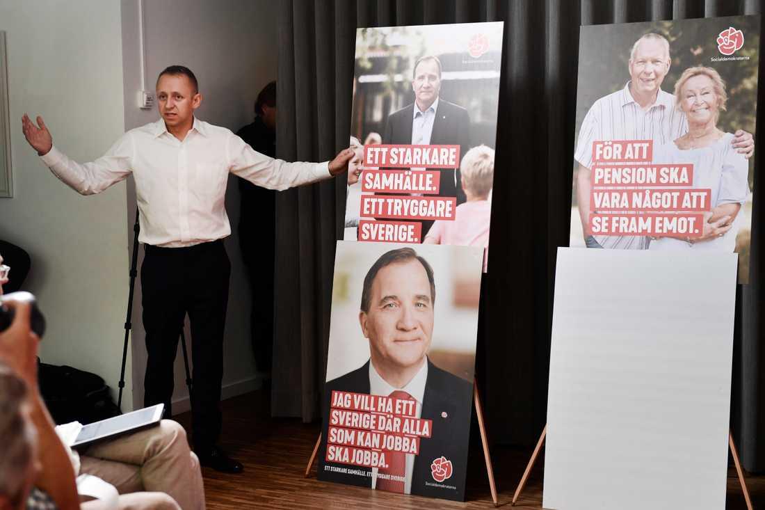"""""""Ett starkare samhälle. Ett tryggare Sverige"""" är överskriften för Socialdemokraternas valkampanj."""