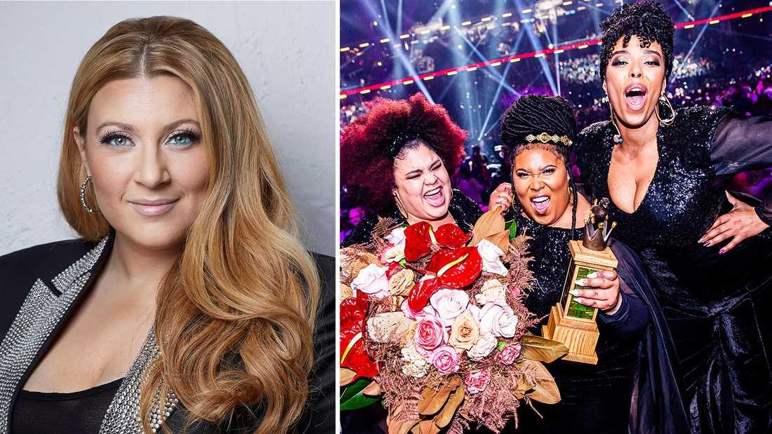 """Sarah Dawn Finer leder """"Sveriges 12:a"""" i SVT, där bland annat The Mamas (som inte får vara med och tävla i kväll) uppträder."""