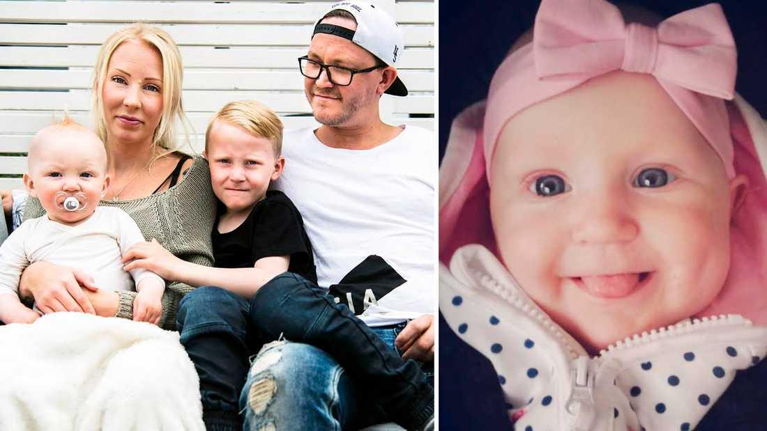 Alexandra och Johnnys dotter Nova dog när hon satte i halsen. Här med Lukaz och nytillskottet Dewin.