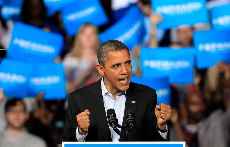 President Obama eldar på sina åhörare i Columbus, Ohio.