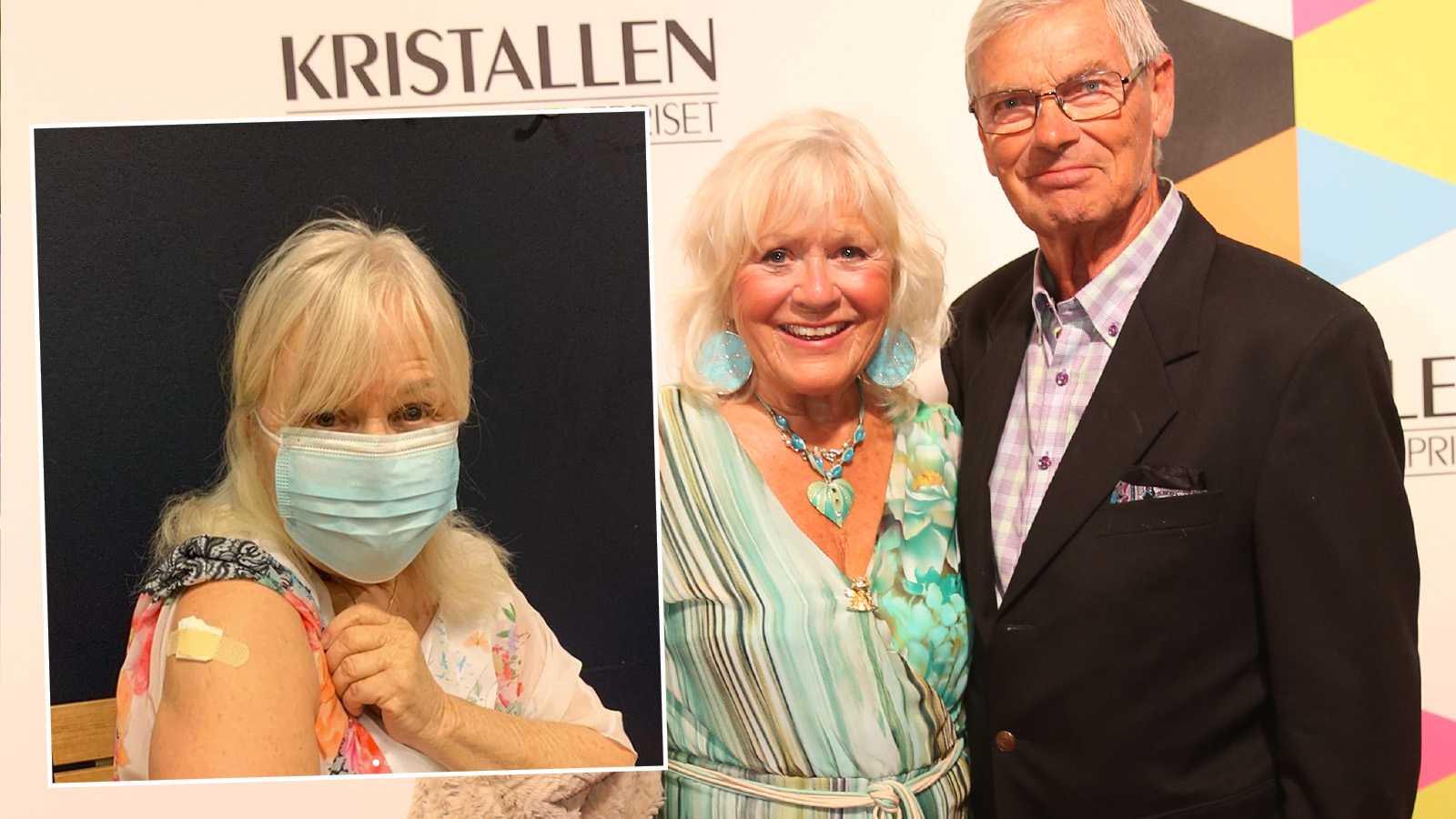 Christina Schollin och maken Hans Wahlgen fick första dosen av Astra Zenecas vaccin – dagen efter pausades det.