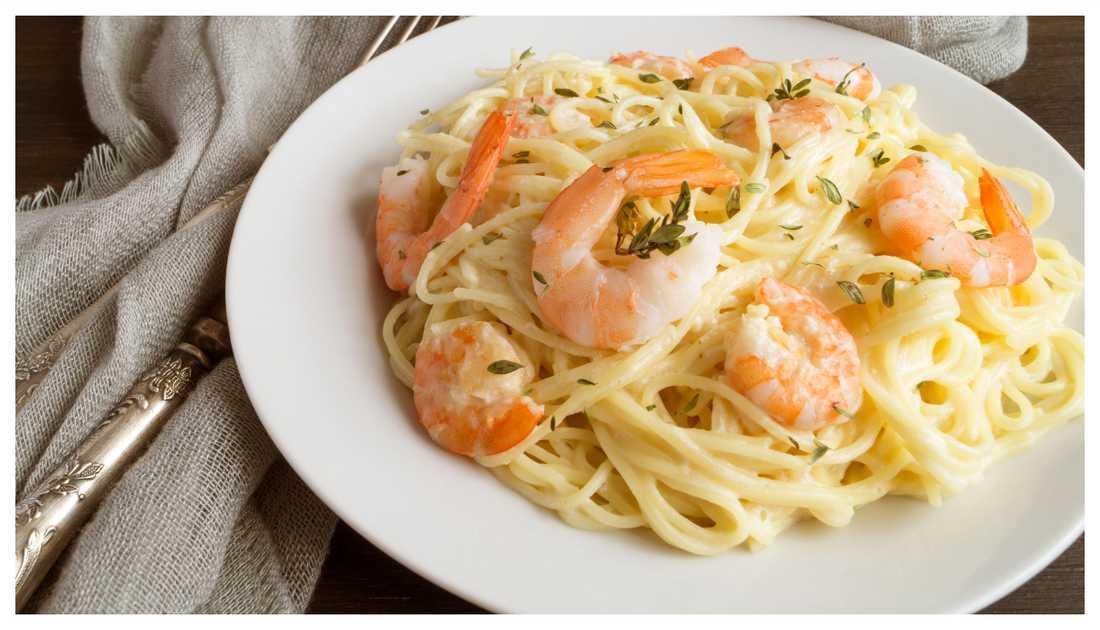 enkel pasta med räkor