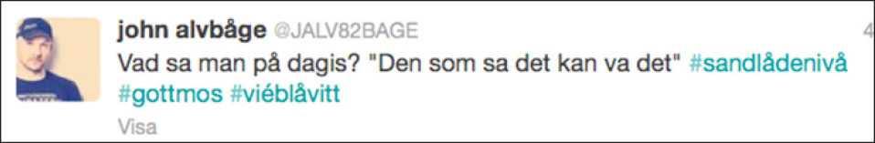 John Alvbåge på Twitter i natt.