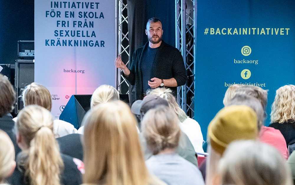 Johan Petterson (Make Equal) vid Backa workshopdagen på Bergendahlska Gården i Växjö.
