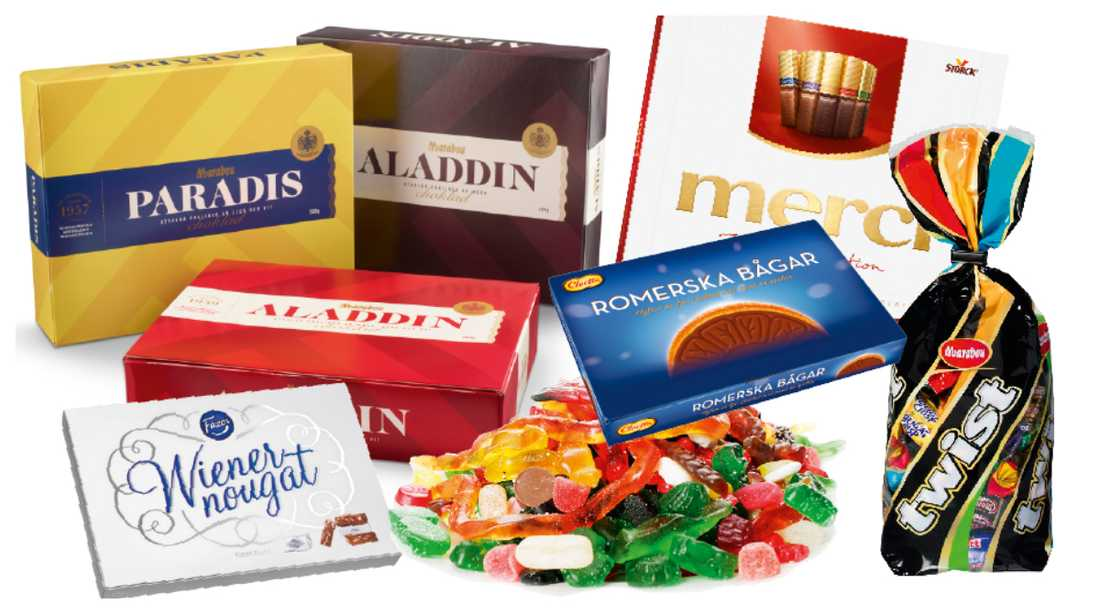 Vilket godis innehåller palmolja och vilket är fritt från palmolja.