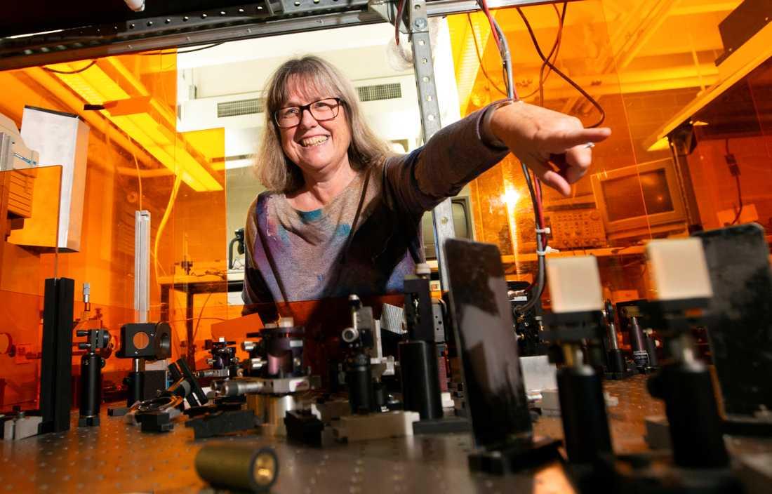 Donna Strickland i sitt laboratorium.