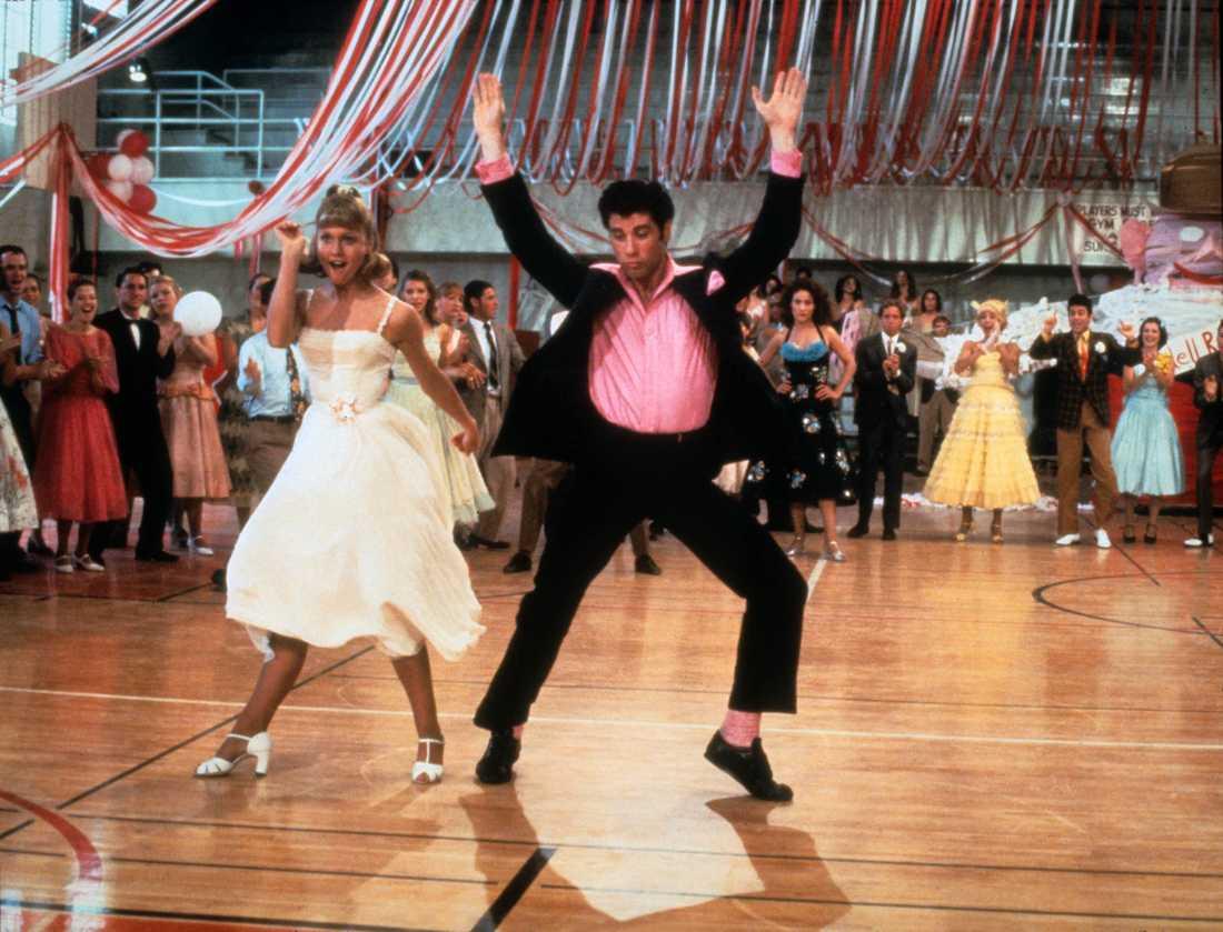 "Olivia Newton John och John Travolta i ""Grease""."
