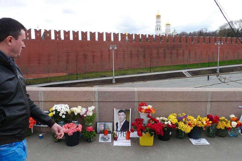 Platsen där Boris Nemtsov sköts 2015.
