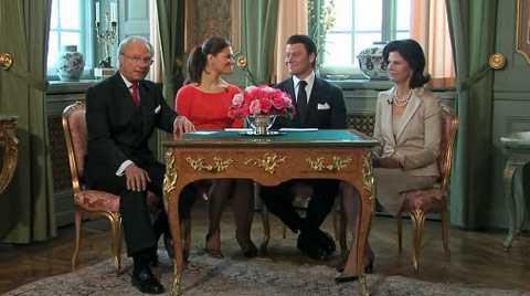 Kungen, Victoria, Daniel och Silvia framträdde på en presskonferens på tisdagen.