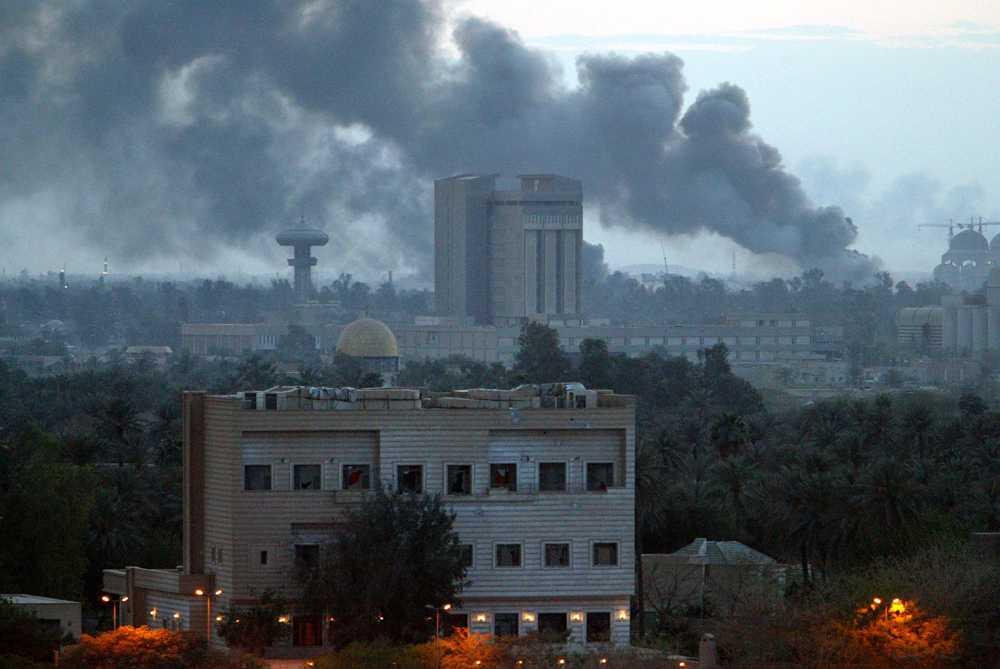 Iraks huvudstad Bagdad bombades under invasionen av Irak, som inleddes den 19 mars 2003. AP/ARKIV