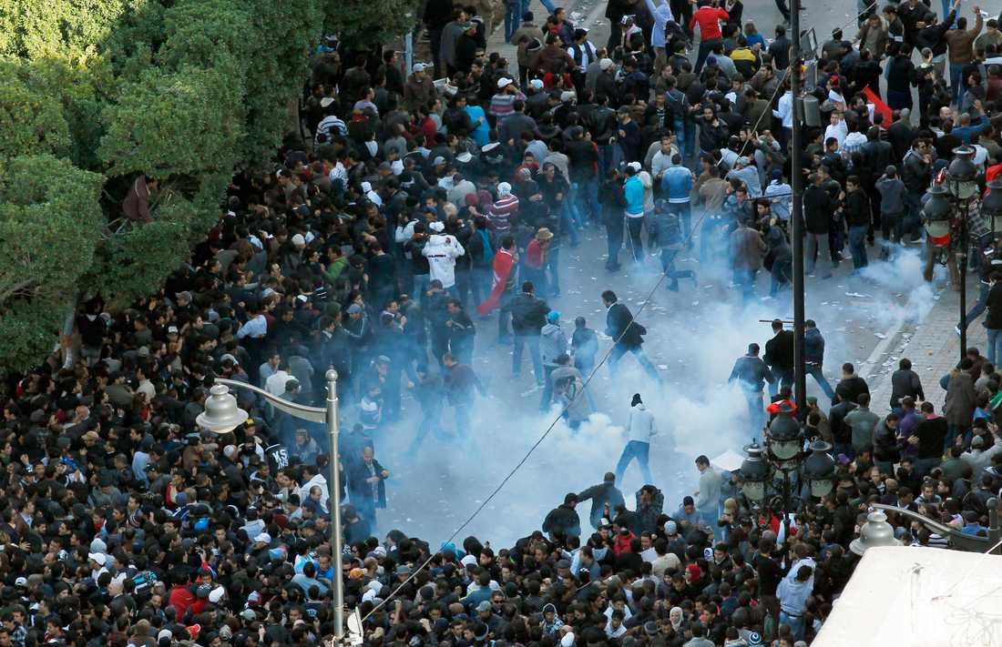 Jasminrevolutionen Polis ingriper mot demonstranter i Tunis, januari 2011.