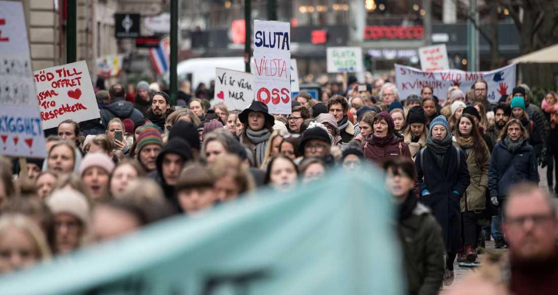 Demonstration mot sexuellt våld i Malmö.