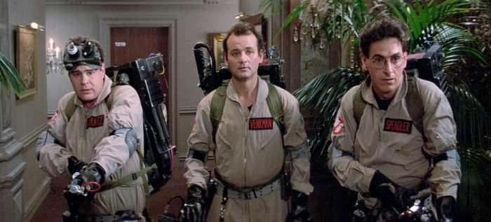"Dan Aykroyd, Bill Murray och Harold Ramis i ""Ghostbusters"" (1984)."