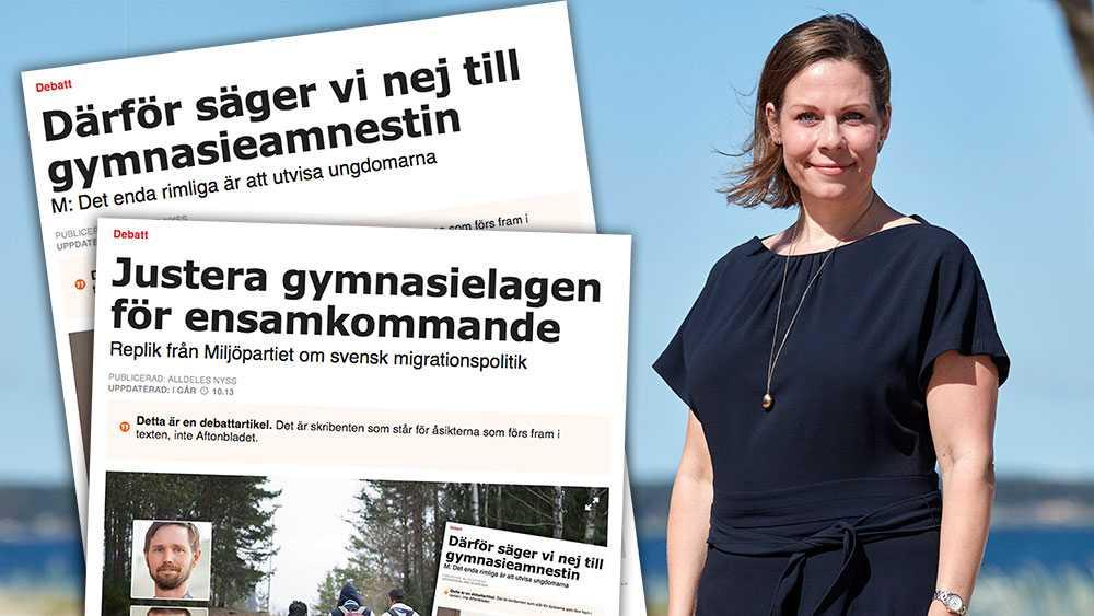 """Covid-19 är bara ett svepskäl för att återigen lätta på det svenska regelverket. Redan i november 2019 föreslog Rasmus Ling (MP) """"en lösning så att de ska kunna stanna. Det kan röra sig om en ny lagstiftning"""", skriver Maria Malmer Stenergard, migrationspolitisk talesperson (M)."""