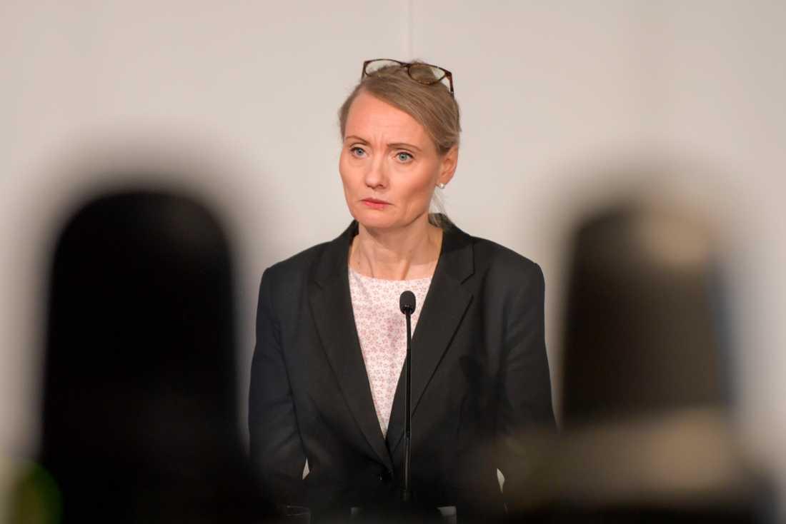 Karin Tegmark Wisell, avdelningschef på Folkhälsomyndigheten, under tisdagens myndighetsgemensamma pressträff med Socialstyrelsen och Myndigheten för samhällsskydd och beredskap (MSB).