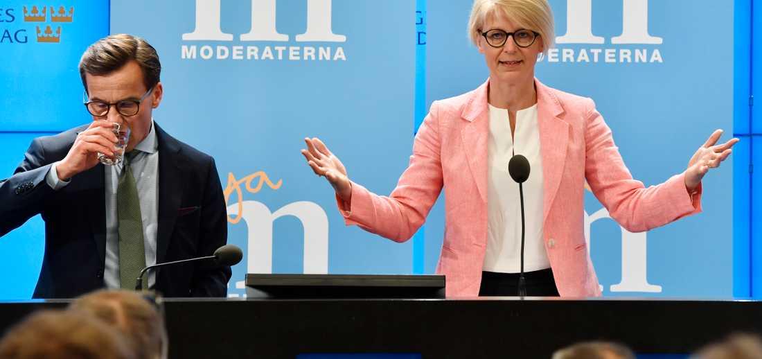 Ulf Kristersson och Elisabeth Svantesson presenterade Moderaternas skuggbudget på onsdagen.