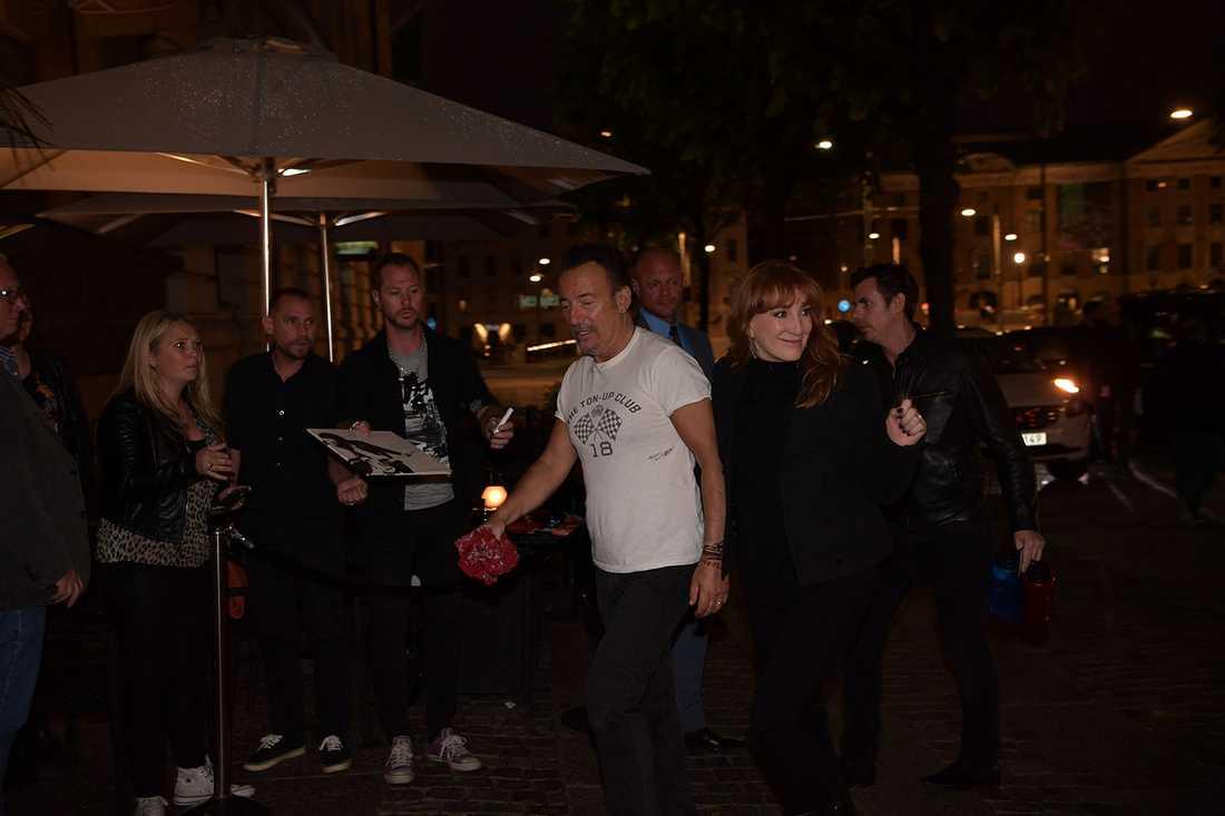 Bruce Springsteen och frun Patti Scialfa i Göteborg.
