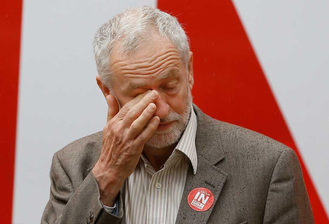 Den brittiske labourledaren Jeremy Corbyn under kampanjen för att stanna i EU.