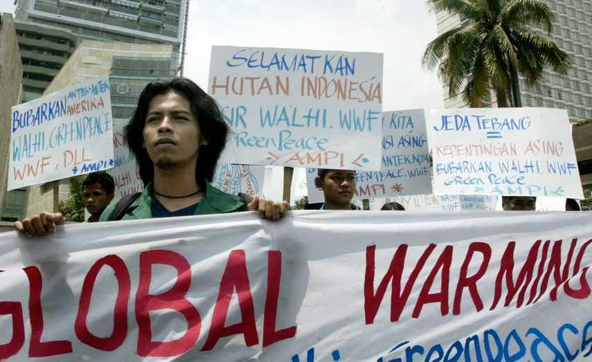 Demonstrationer mot den globala uppvärmningen i Indonesien.