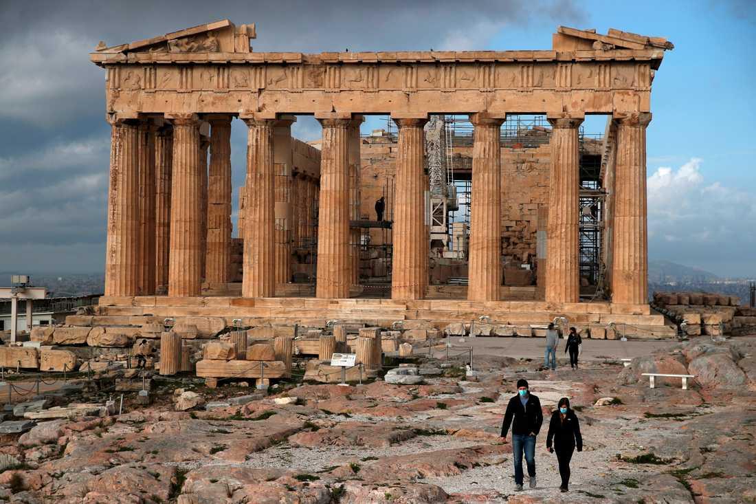 Akropolis i Aten är tomt på turister. Arkivbild.