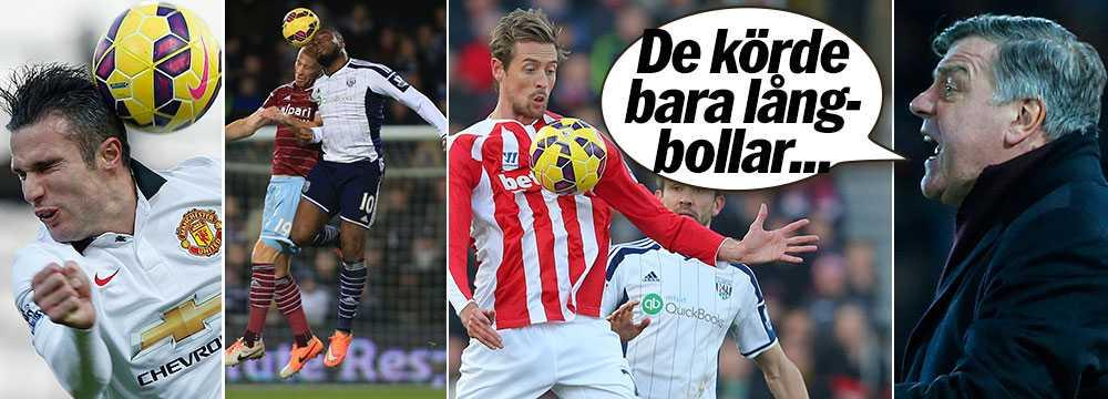 West Hams Sam Allardyce anklagade Manchester United för att bara slå långbollar.