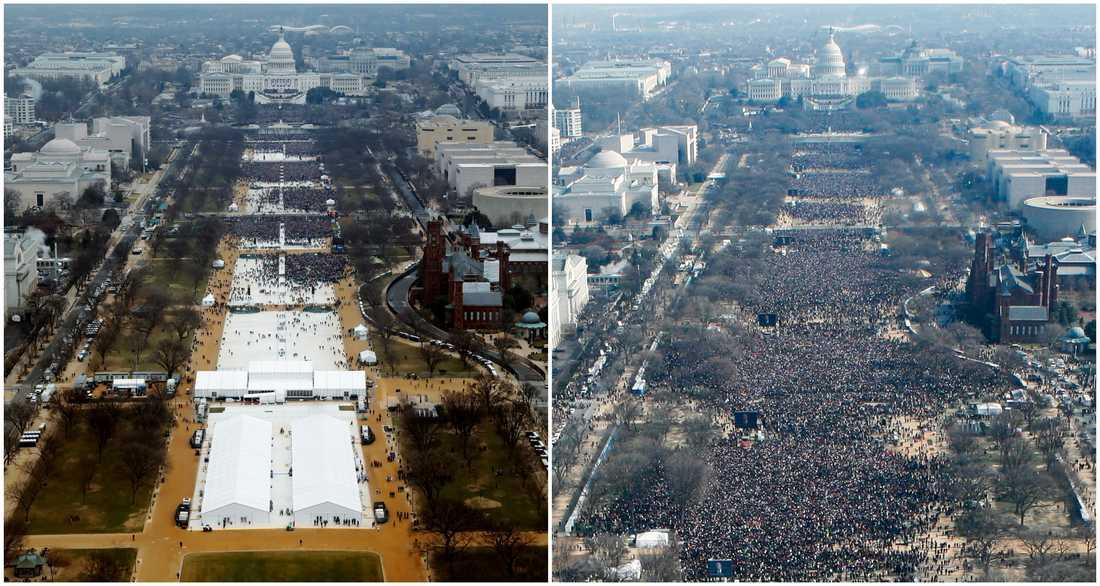 Till vänster 2017 under Trumps installation. Till höger när Barack Obama installerades 2009.
