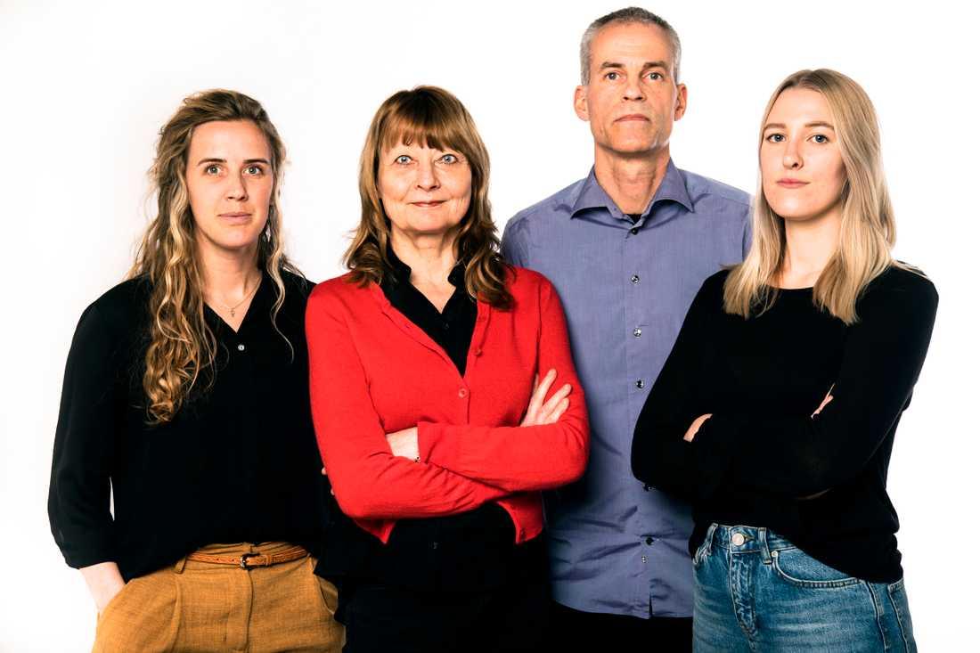 Anna Tärnhuvud, Kerstin Weigl, Joachim Kerpner och Alice Staaf har under tre månader granskat domar och förundersökningar från 2012 fram till nu.