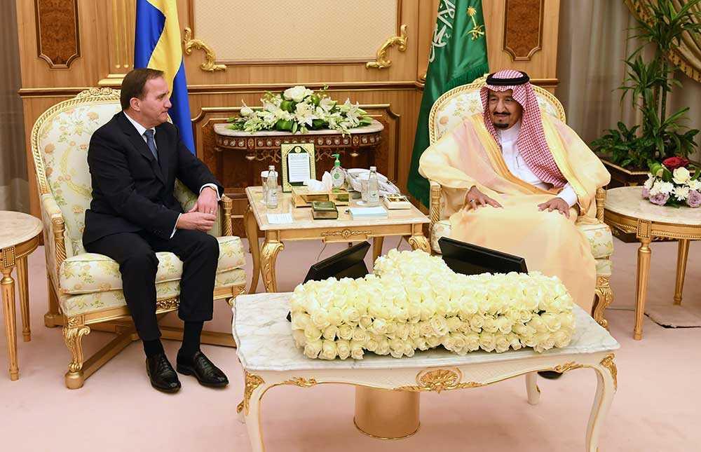 Statsminister Stefan Löfven träffar kung Salman bin Abdul Aziz i Saudiarabiens huvudstad Riyadh.