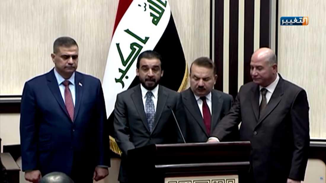 Najah al-Shammari svors in som försvarsminister i juni 2019.