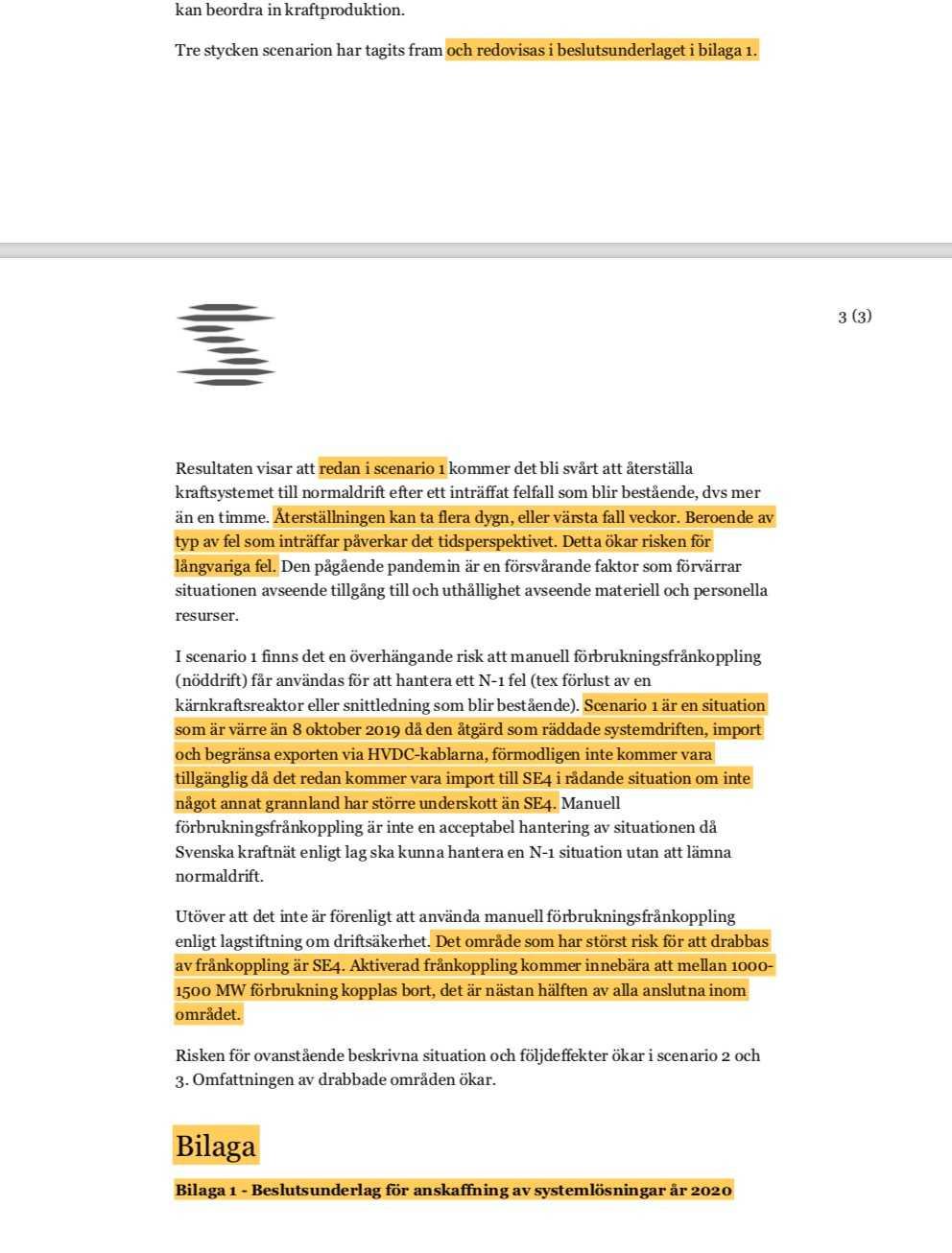 Originalhandlingen som Aftonbladet tagit del av. Den markerade texten har raderats i handlingen som myndigheten lämnar ut.