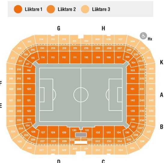 Skiss över Friends arena, där sektion 110 ligger nära mitten på ena långsidan vid fotbollsmatcher...
