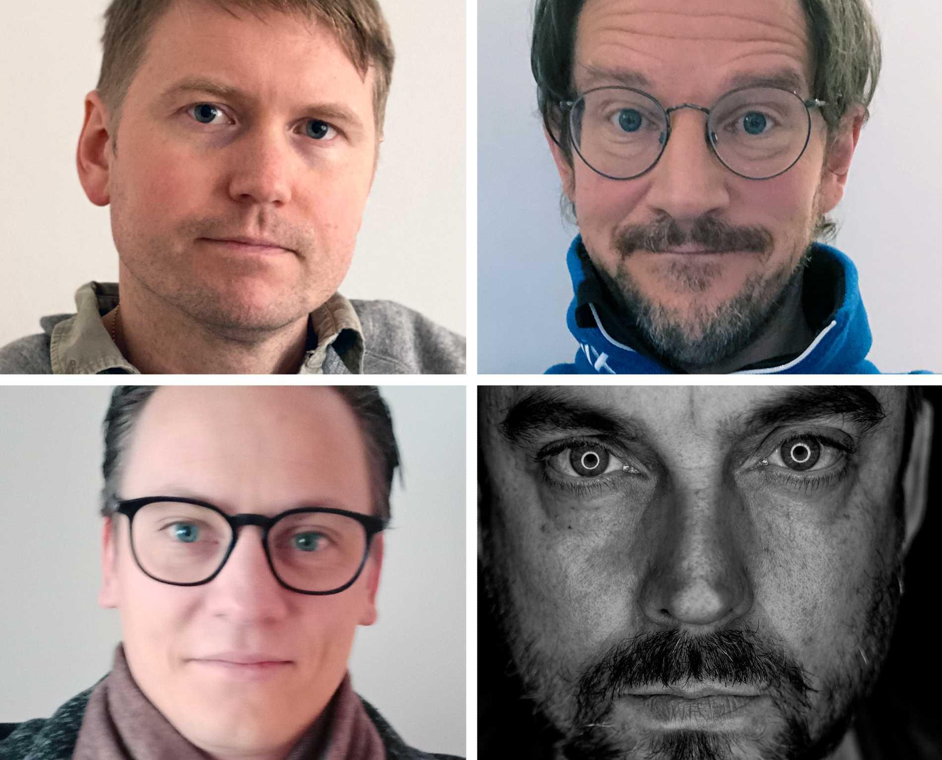 Männen bakom podden, uppe från vänster: Läkaren Urban Gärdek, läraren Thorbjörn Brehmer; nere från vänster: läraren Tobias Fernström von Braun och poddskaparen Dan Hörning.