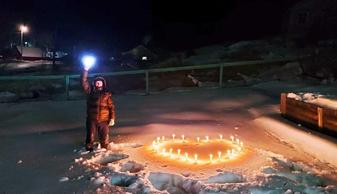 En bild från ljusaktionen i Petropavlovsk-Kamtjatskij.