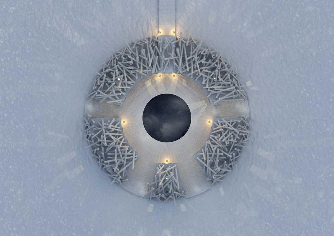 Hotellet är en sluten cirkel omgiven av vatten och i vintertid is. Kallbadet i mitten hålls alltid öppet.