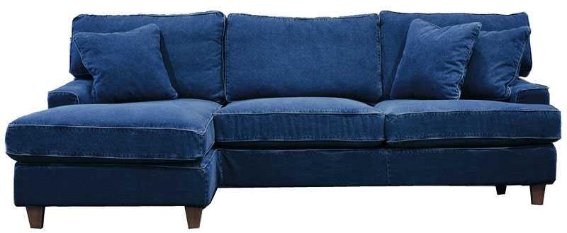 "Sitt eller ligg i snygga jeansblå soffan ""Sandhamn"", Englesson, priser från 24750 kr."