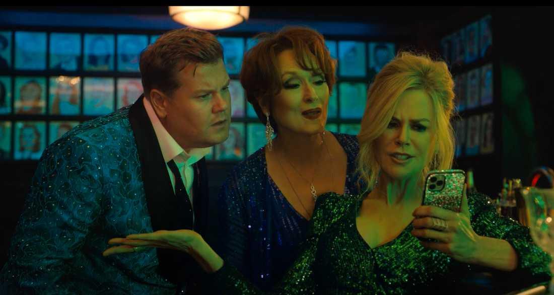 "James Corden, Meryl Streep och Nicole Kidman i ""The prom""."