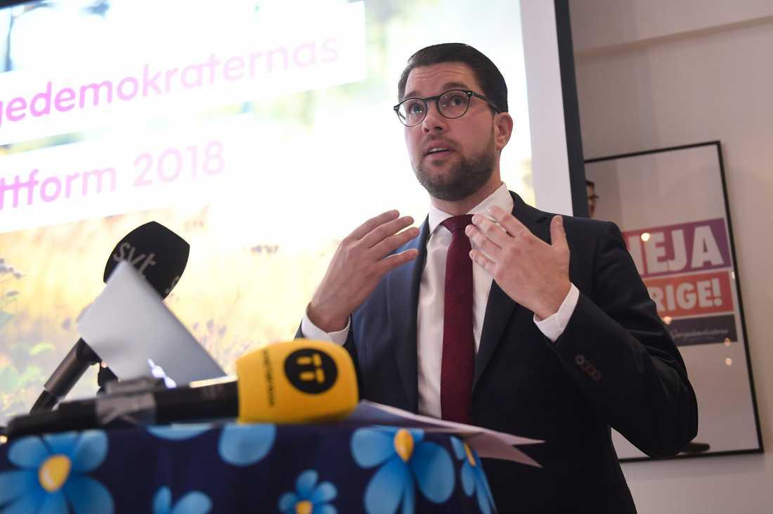 SD-ledaren Jimmie Åkesson vill ha en folkomröstning om förslag till ändrade mediegrundlagar. Arkivbild