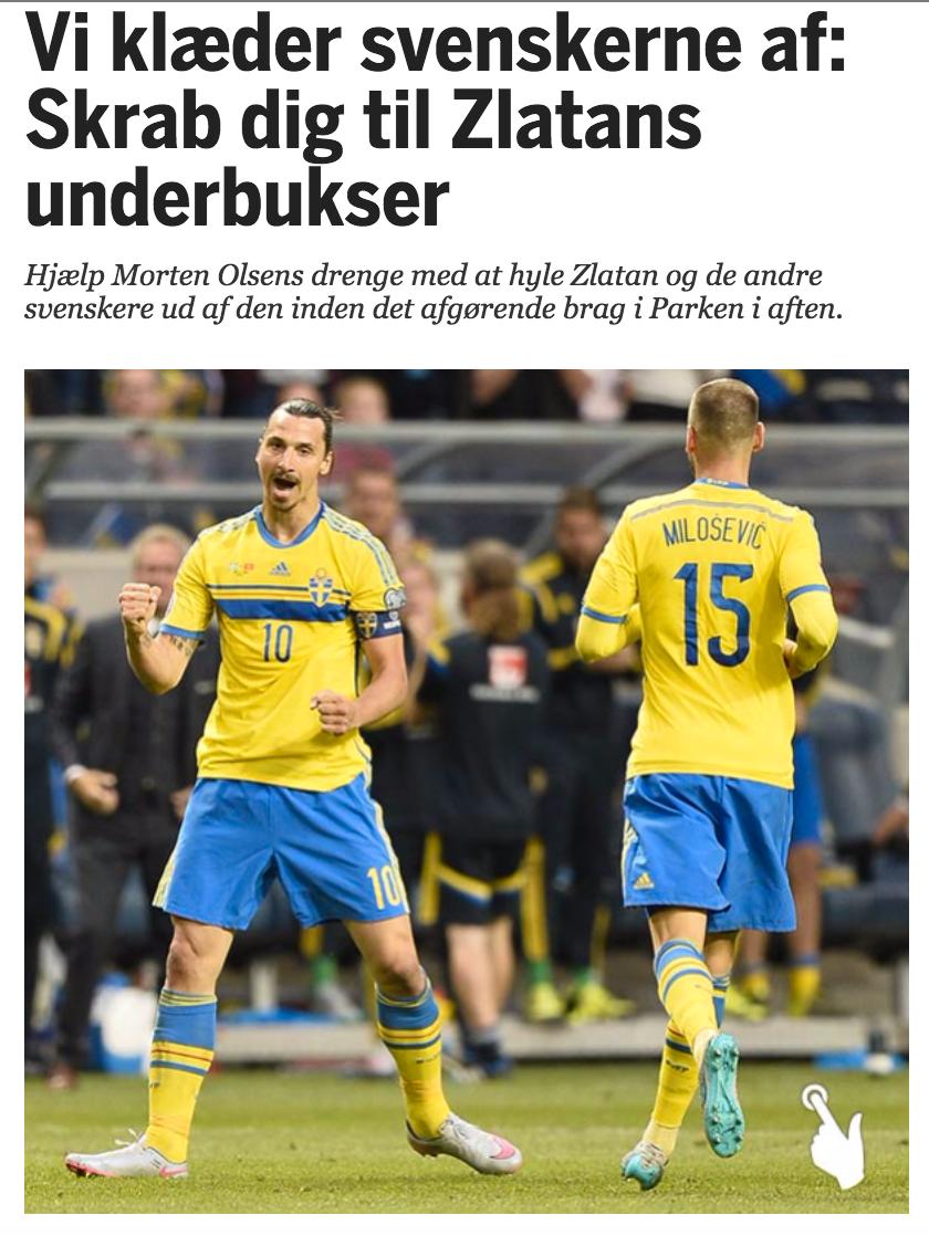 """De danska läsarna kunde """"skrubba"""" bort Zlatans shorts, strumpor och skor."""