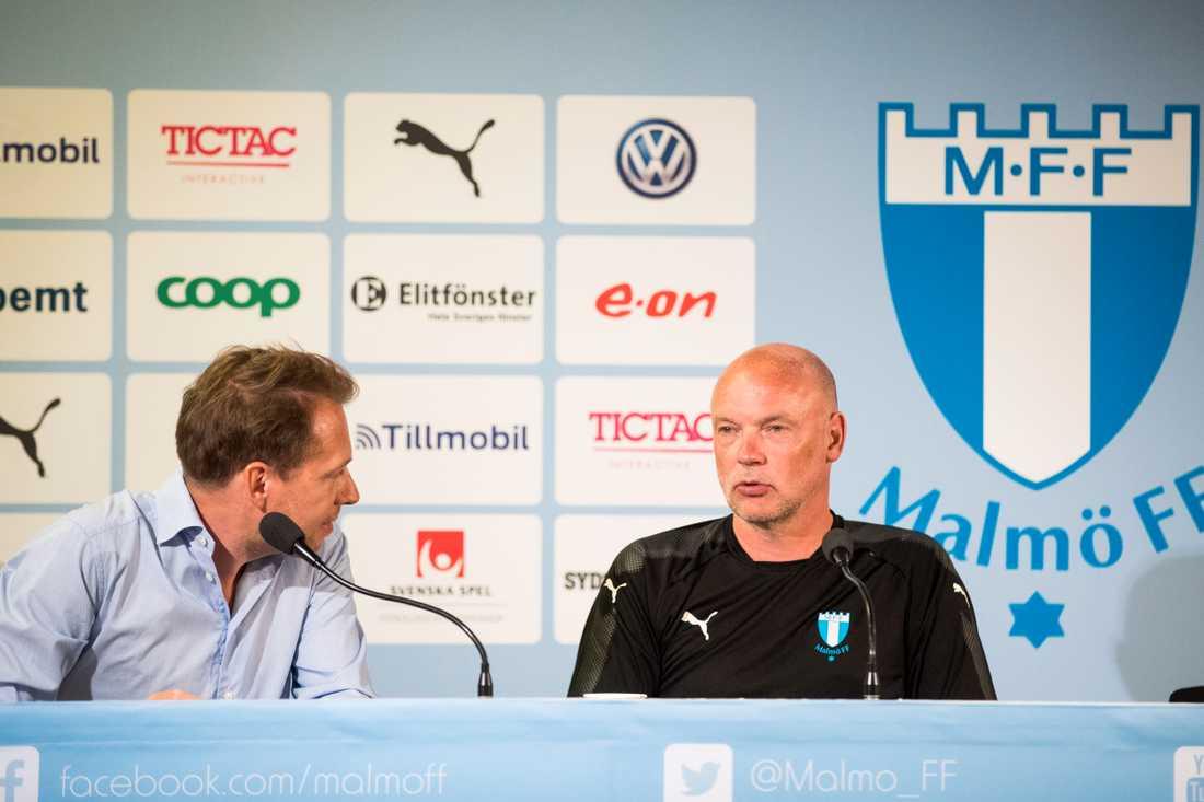 Peter Åhlander (presschef) och Uwe Rösler (huvudtränare).