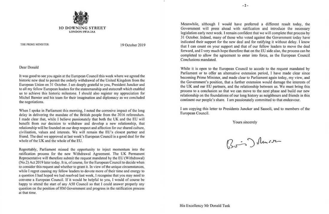Boris Johnson skickade tre brev till EU.