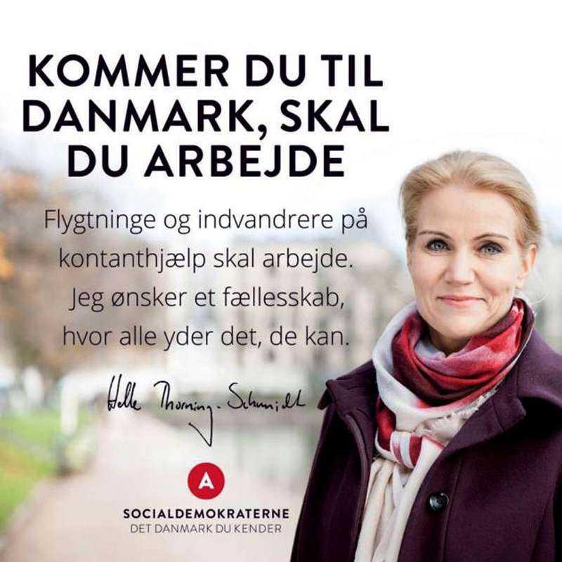 """Socialdemokratenas budskap """"Det Danmark du känner"""" pryder valaffischerna."""