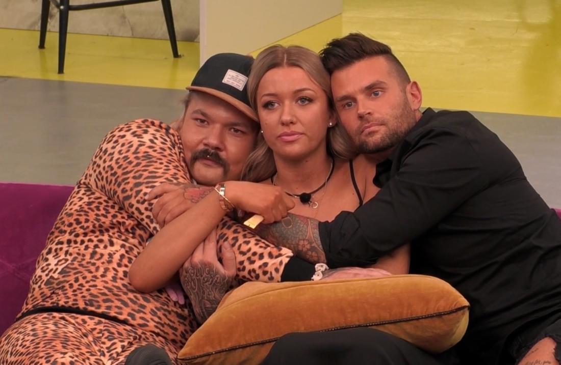 """Jasmine Armstrong, Lennie Hansson och Sami Jakobsson i finalen av """"Big brother"""" 2020."""