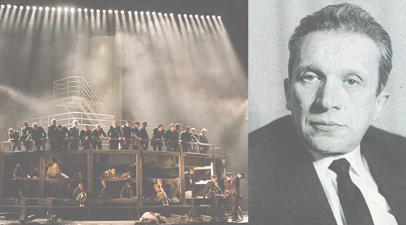 """Mieczysław Weinberg (1919–1996) samt foto från en uppsättning av """"Passageraren"""" i Warszawa."""