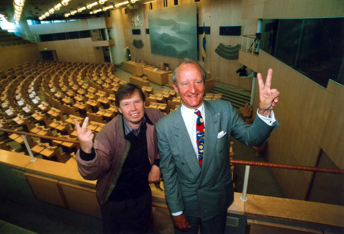 Bert Carlsson och Ian Wachtmeister kom in i riksdagen 1991. Ny Demokrati bråkade med varandra i tre år och åkte sedan ut.